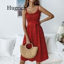 Женский сарафан в горошек летнее пляжное платье трапециевидной