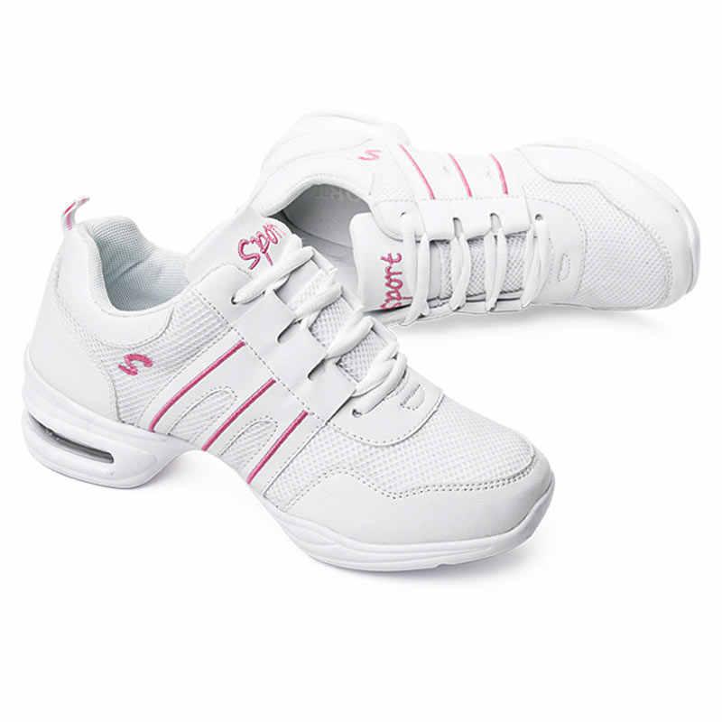 รองเท้าเต้นรำผู้หญิงกีฬาสมัยใหม่แจ๊สรองเท้า Outsole รองเท้าเต้นรำหญิง Waltz รองเท้าผ้าใบขายส่ง