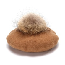 Berets Artist Kids Hat Girls Vintage Children Wool Women Fur with Pom-Pom-Hat Real-Fur