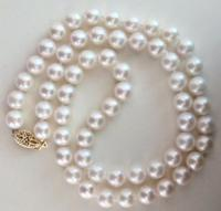 14k/20 yellow gold CLASSIC NATURAL8 9mm WHITE SOUTH SEA PEARL NECKLACE 18 inch