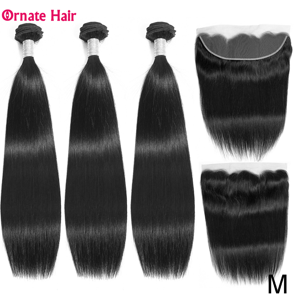 Ornate Straight Hair Bundles With Frontal Brazilian Human Hair Weave Bundles With 13X4 Lace Frontal Non-Remy Middle Ratio Hair