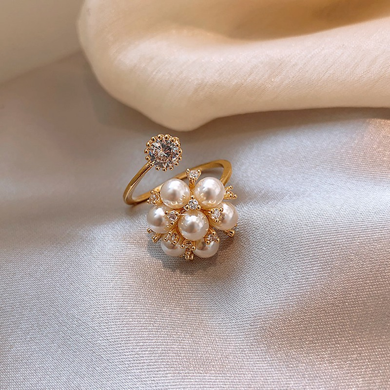MENGJIQIAO Korean New Fashion Elegant Pearl Flower Twist Rings For Women Hands Jewelry Wedding Adjustable Rhinestone Ring Gift
