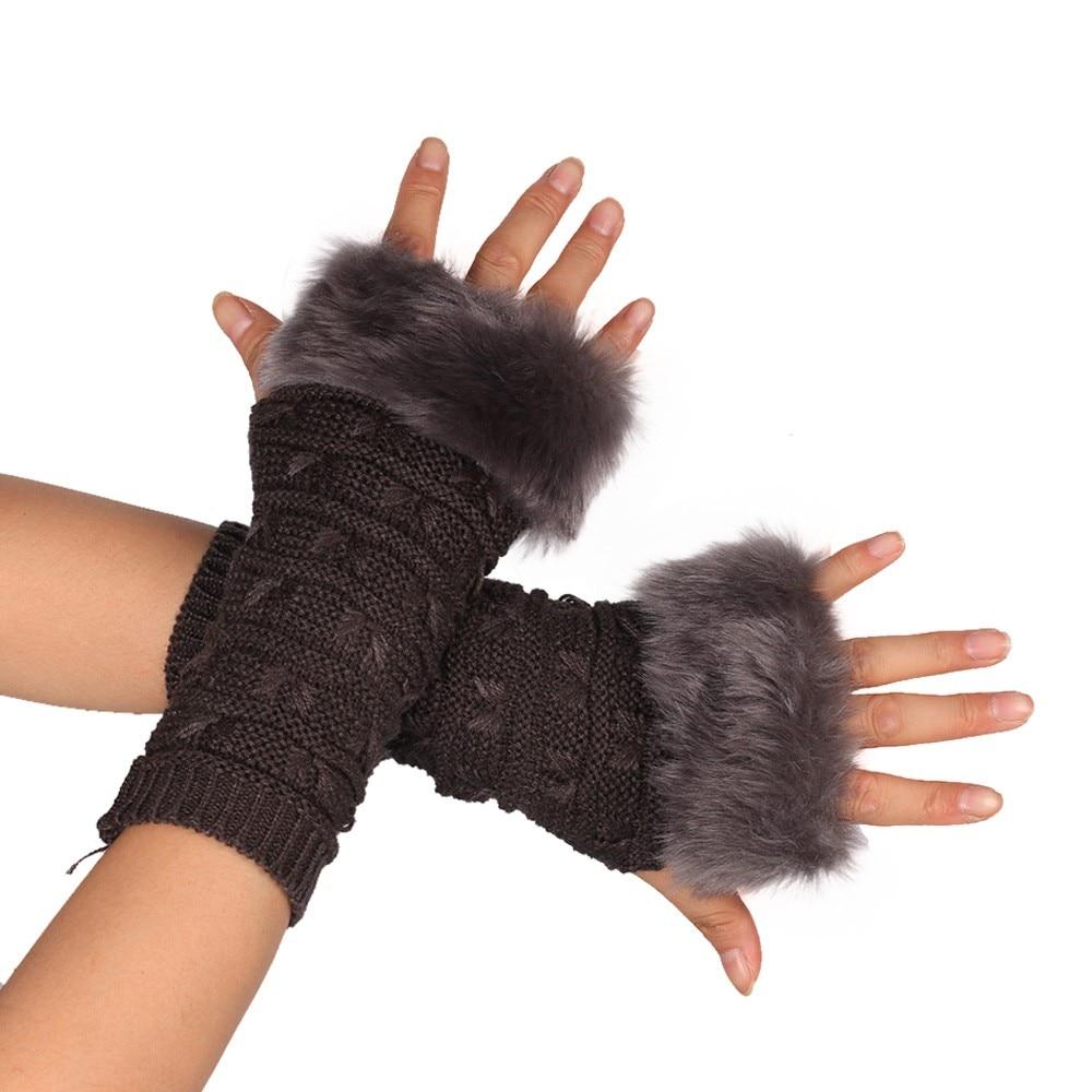 Female Gloves Knitted Arm Fingerless Faux Rabbit Fur WristHalf Finger Winter Gloves Warm  Mittens For Women Luvas Motociclismo