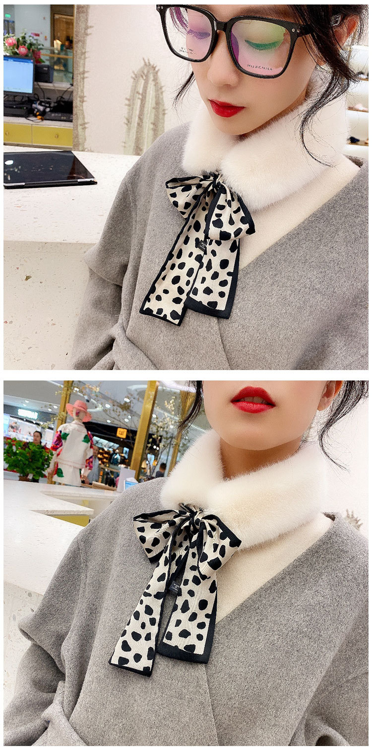 Hbfa5ef2fc0c84842b551fef0f826dbc3I - New Long Skinny Silk Letter Leopard Printed Hair Head Scarf with Winter Warm Faux Fur Neck Collar Scarves for Women Foulard