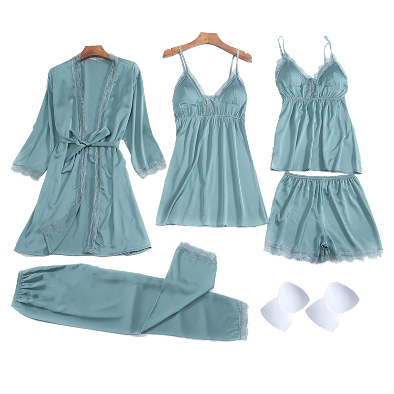 Sexy Women Pajamas 5 Pieces Sets Satin Sleepwear Pijama Silk Home Wear Summer Sleep Lounge Pyjama With Chest Pads