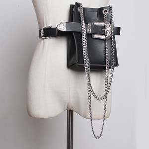 Image 4 - [EAM] 2020 New Spring Summer Pu Leather Personality Chain Buckle Split Joint Bag Belt Two Ways Wear Women Fashion Tide JL687