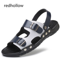 Men Fashion Sandals Summer Men's Slippers Leather Shoes Beach Casual Breathable Flip-Flops Zapatos Size38-47