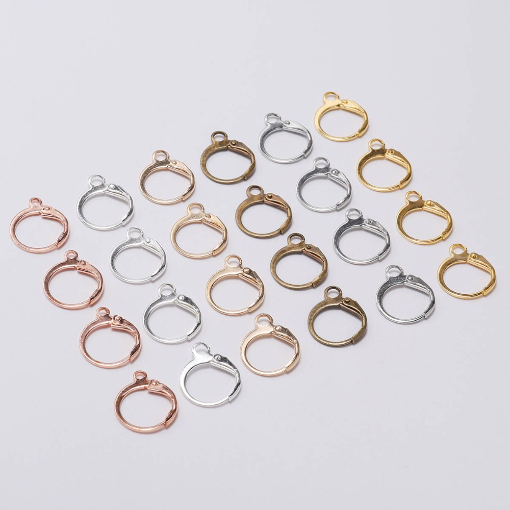 20pcs/lot New Silver Gold Hook Earrings Clasps & Hooks Material 14*12mm Size Wire Settings Base Hoops Supplies For DIY Jewelry