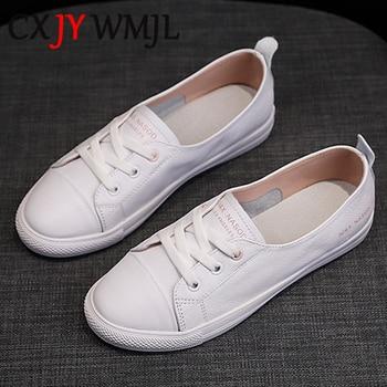 Femmes en cuir véritable baskets femmes décontracté à la mode chaussures de sport vulcanisé femme été plat chaussure dames blanc laçage 40 1
