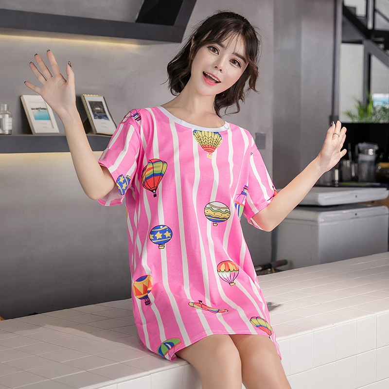 Nightgown Women's Summer Short-sleeved Pure Cotton Pajamas Cartoon Cute Students Midi-skirt Loose And Plus-sized Summer Balloon