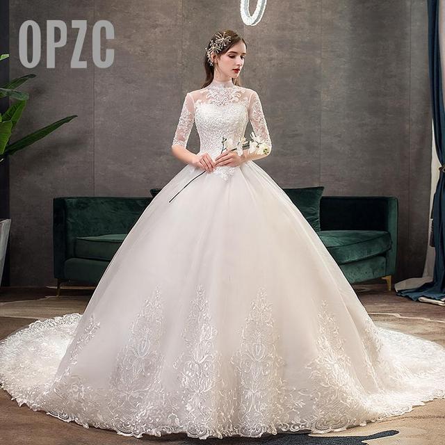 חדש Vestido דה Noiva חצי שרוול רויאל רכבת חתונת שמלה גבוהה צוואר Applique תחרת כדור שמלת כלה הכלה שמלת Robe דה Mariee