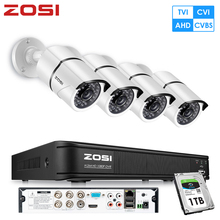 ZOSI 4CH AHD TVI Analog 1080P Security Camera System with 2MP Indoor Outdoor Weatherproof Bullet Cameras 1TB HDD Built-in