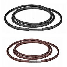 Black Leather Cord Necklace For Women Men Cord Wax Rope Lace Chain With Stainless Steel Rotary Clasp For DIY Necklaces Jewelry(China)