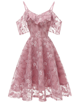 Cocktail Dresses Homecoming Off Shoulder 2020 Pink Lace Short Formal Party Gown Spaghetti Strap Sleeveless Robe Coctail