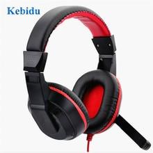Kebidu regulowane słuchawki 3.5mm słuchawki gamingowe Stereo typ komputer PC gracze zestaw słuchawkowy z mikrofonami na przekaz na żywo