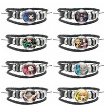 Kimetsu no Yaiba Hand Kamado Tanjirou Kamado Nezuko Agatsuma Zenitsu Time Jewelry Handicraft Leather Hand Comic Adult Jewelry(China)