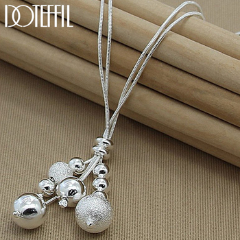 DOTEFFIL 925 Sterling Silver Snake Chain Glossy / Matte Beads Pendant Necklace For Woman Charm Fine Jewelry Wholesale wholesale sale genuine 925 sterling silver feather necklace fine jewelry crystals from swarovski 925 jewelry beads