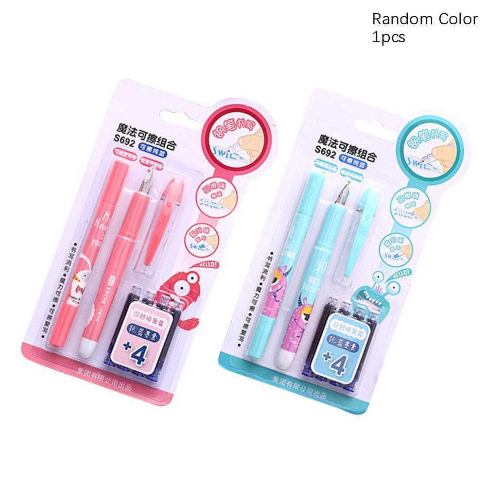 New 0.5mm Creative Cartoon Deli Plastic Fountain Pen With Ink Sac Cute Kawaii Deer Pen For Writing Gift S692