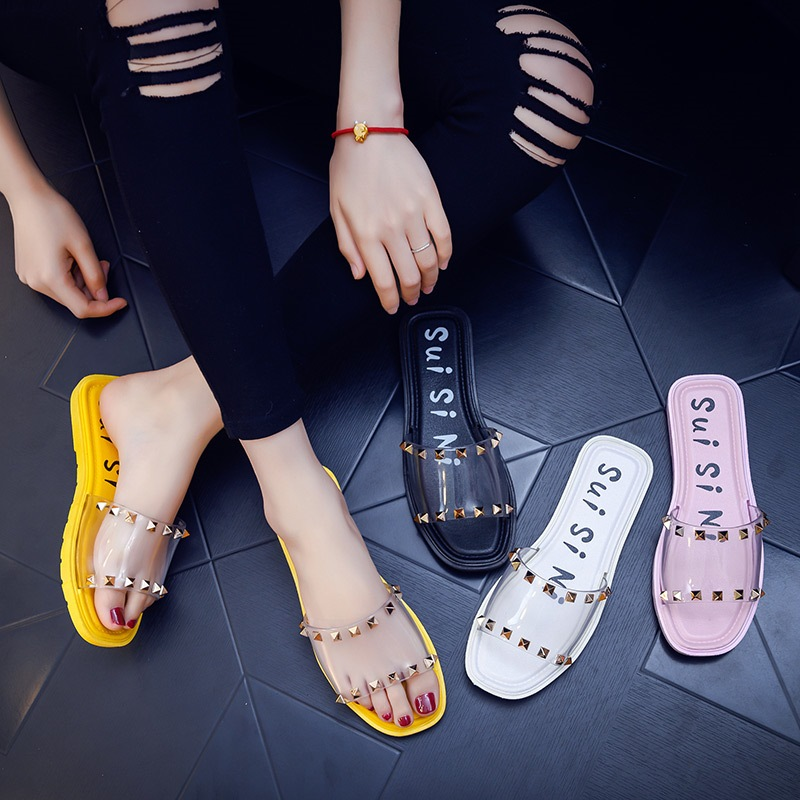Transparent Shoes Sandals Flop Rivet Letter Low-Heels Open-Toe Flip Female Beach-Designer