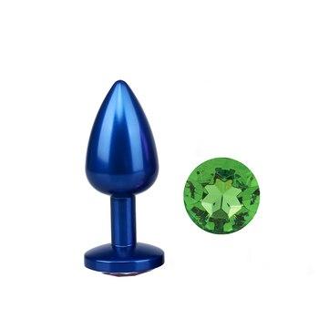 Anal plug in metal blue diamond green