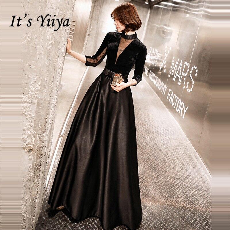 It's Yiiya Evening Dress Black V-neck Evening Dresses Elegant Plus Size Formal Gowns 2020 Long Zipper  Robe De Soiree LF091
