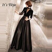 It's Yiiya Evening Dress Black V neck Evening Dresses Elegant Plus Size Formal Gowns 2020 Long Zipper robe de soiree LF091