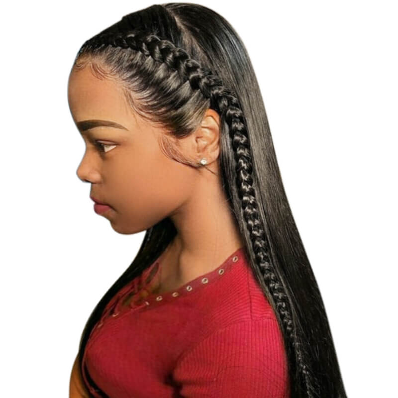 360 Lace Frontal Wig Pre Plucked Hair Line With Natural Baby Hair 150 Density Full Head Natural Color Brazilian Silky Sraight