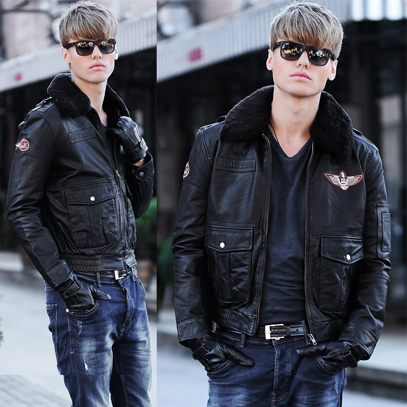 Pilots Genuine Leather Jacket Air Force Flight Suit Locomotive Leather Jackets Men Real Leather Sheep Fur Collar Thick Coat