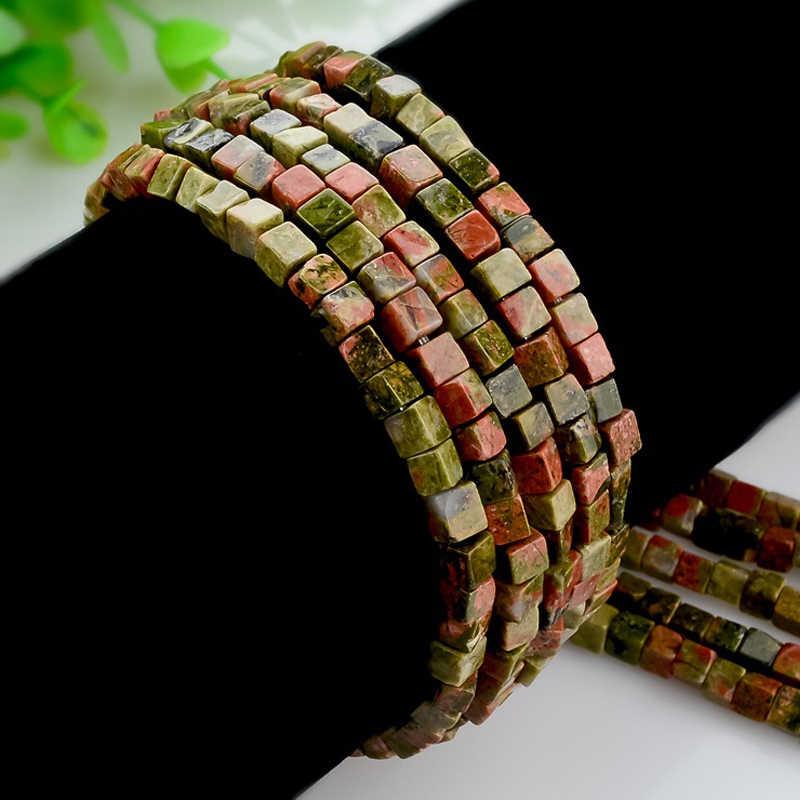 טבעי אבן חרוזים 4mm 90pcs כיכר אבן חרוזים קוביית Loose חרוזים תכשיטי ביצוע DIY צמיד שרשרת אבזרים לעשות