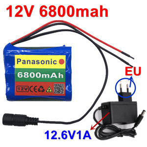 100% New 12V 6800mAh 18650 Li-ion Rechargeable battery pack for CCTV Camera 3A Batteries+ 12.6V EU US Charger+Free shopping(China)