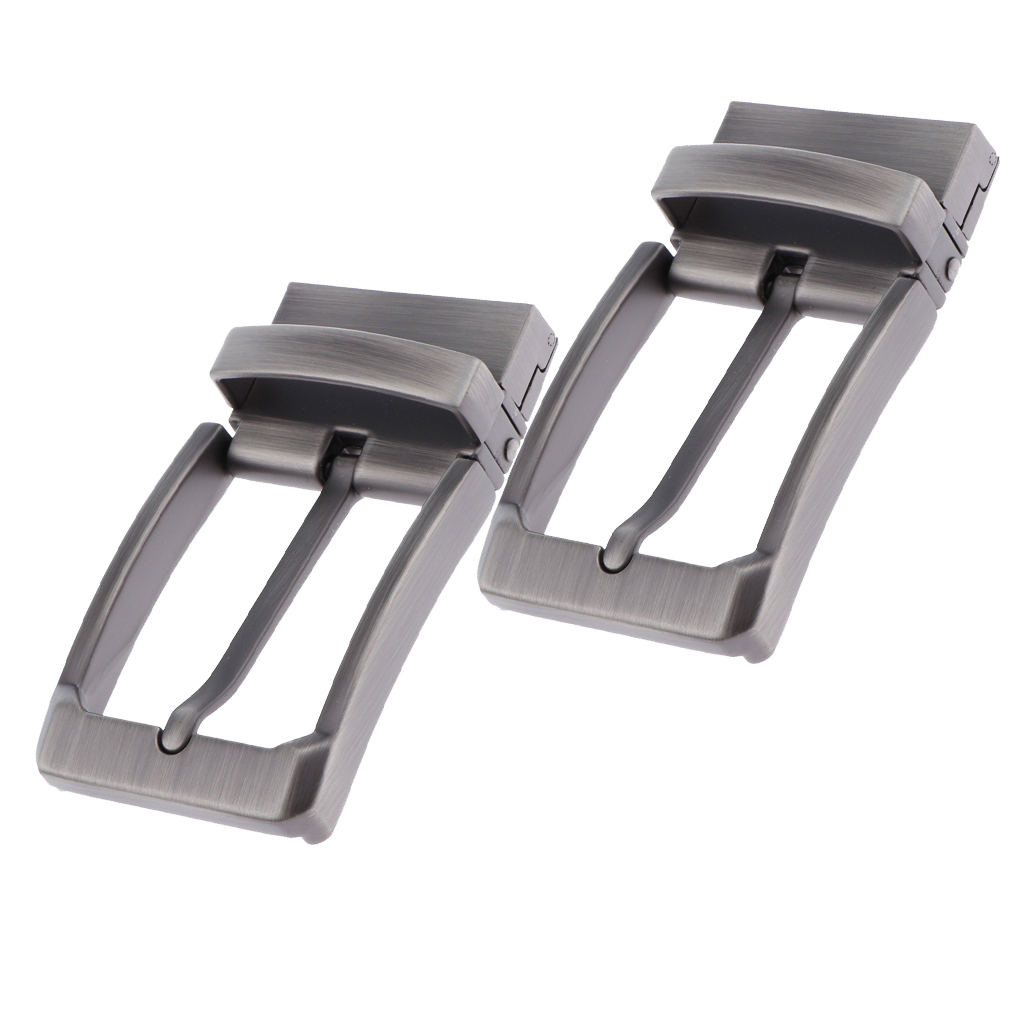 Alloy Reversible Belt Buckle Replacement - Pack Of 2 - Single Prong Rectangular Pin Belt Buckle For 1.3-1.34 Inch Strap