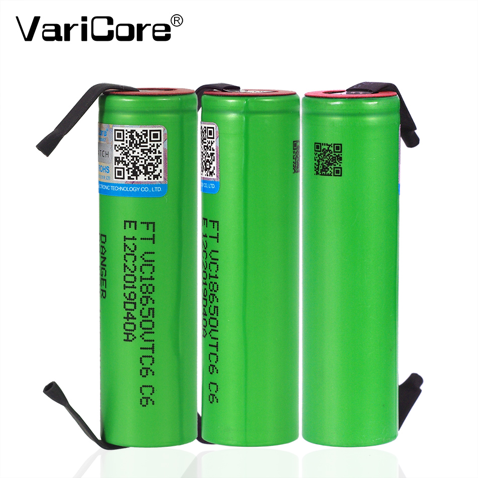 VariCore VTC6 3.7V 3000 MAh 18650 Li-ion Rechargeable Battery VC18650VTC6 Batteries + DIY Nickel Sheets