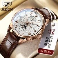 JSDUN erkekler mekanik kol saatleri Moon Phase otomatik lüks erkek saatler moda Casual İş adam izle hediye spor saati
