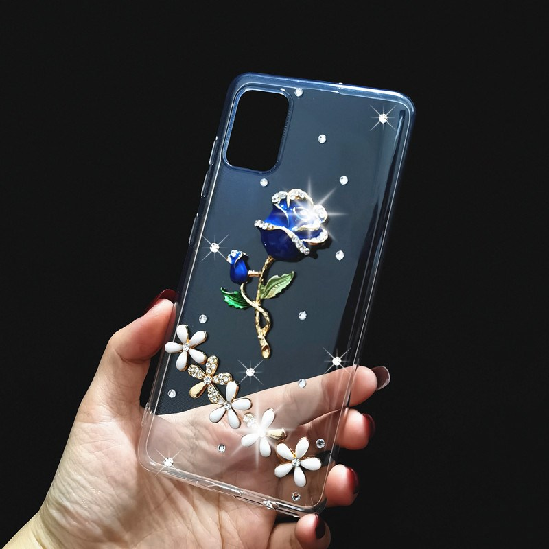 Luxury 3D Rhinestone Phone <font><b>Case</b></font> For <font><b>Samsung</b></font> S20 plus S9 S10 S8 Cover For Galaxy A51 A71 A31 A21s A20e <font><b>A40</b></font> A50 A70 A7 A8 J4 <font><b>Case</b></font> image