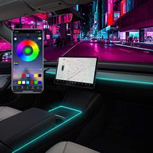 Para tesla modelo 3 modelo y interior luzes de néon modelo 3/y acessórios decoração do carro rgb ambiente luzes de tira led com app controlado