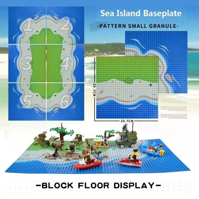 클래식베이스 플레이트 농구 코트 축구 필드 Baseplate 플레이트 바다 섬 오아시스 장면 DIY 빌딩 블록 세트 벽돌 장난감
