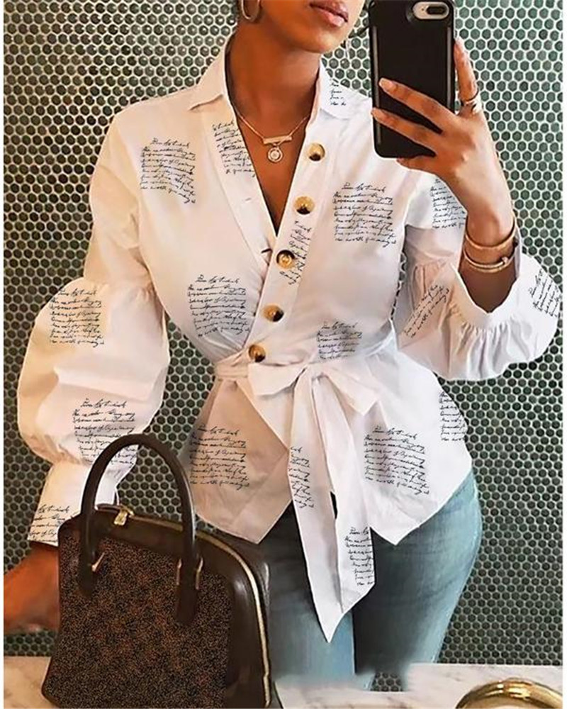 2019 Long Sleeve Fashion Women V Neck Tops And Blouses blusas mujer de moda Bandage Women Tops Streetwear Outfits Clothes