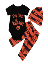 Toddler Baby Kids Romper  Girls Halloween Pumpkin Print Jumpsuit+Pants 3Pcs Set Clothes 9.1