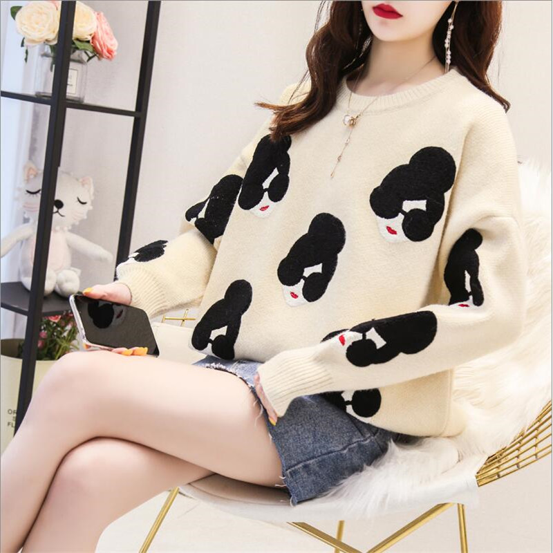 Early Autumn  And Winter Sweater Women's Loose Head Solid Color Long Sleeve 2019 New Embroidered Knit Top