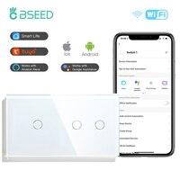 Bseed 1/2Gang 1/2/3way Wifi Control Licht Schalter Touch Schalter Wand Schalter 3 Farbe kristall Panel Smart Switch Arbeit Mit Tuya