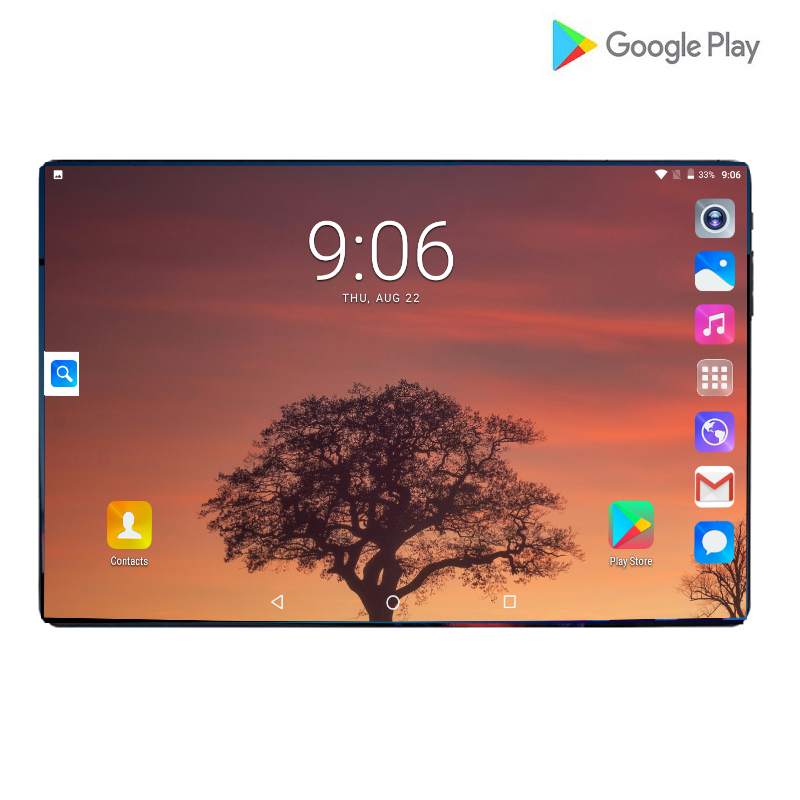 Tablets PC 10.1 Inch Android 9.0 Global Version Octa Core 4G 64GB GPS WIFI 4G SIM Card IPS 2.5D Tempered Glass Screen Tablets 10