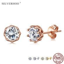 Silvrhoo brincos para mulher authentic 925 prata esterlina brilhante claro 5a zircônia cúbica pequeno parafuso prisioneiro brinco prata 925 jóias
