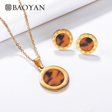 Baoyan New Fashion Round Leopard Costume Jewelry Set Engraved Roman Numerals Gold Plating Stainless Steel Jewelry Sets For Women faux turquoise cow engraved jewelry set