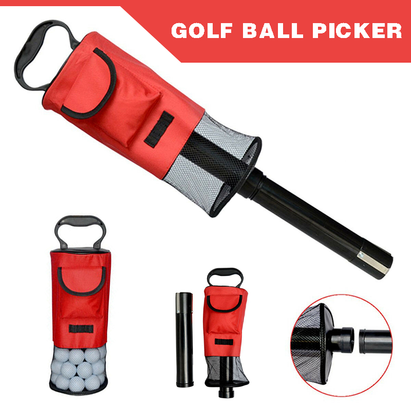 Golf Balls Pick Up Retriever Golf Mesh Bag Practicing Accessories Rust Resistant Durable Balls Tube Collector Golf Ball