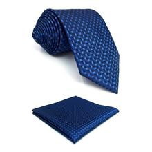 F25 Solid Blue Ties for Men Classic Long 63 Pocket Square Business Navy
