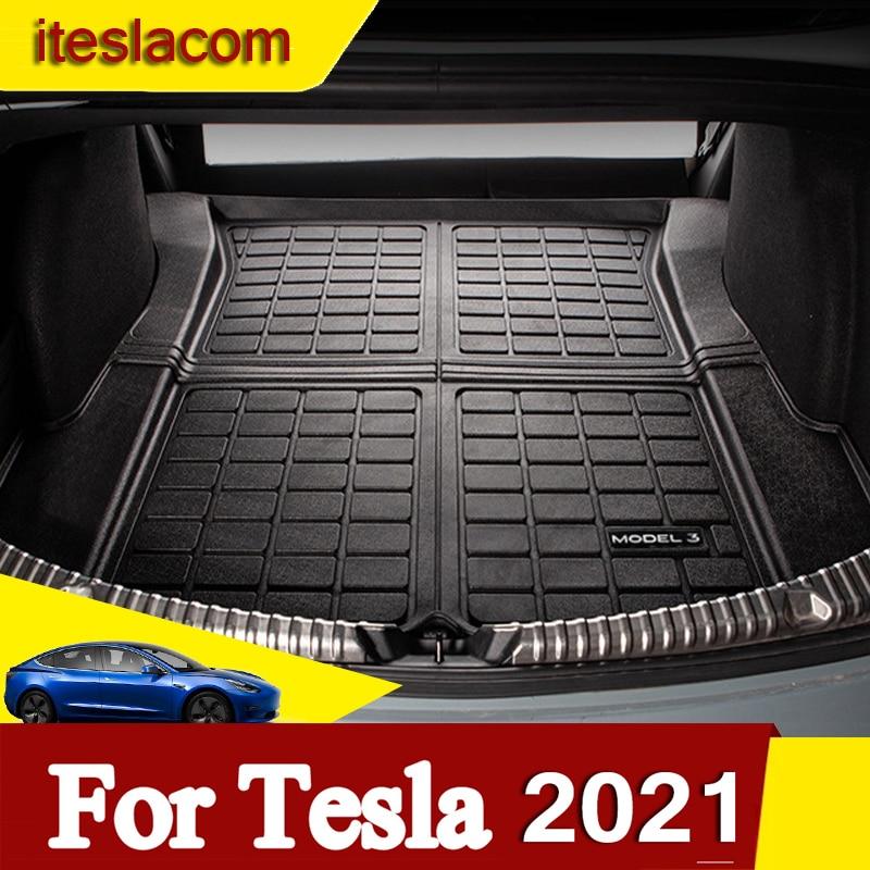 Новинка! Модель 3 2021, коврик для багажника, складной водонепроницаемый коврик для Tesla Model3, аксессуары, защитные коврики, модель 3 2017-2021
