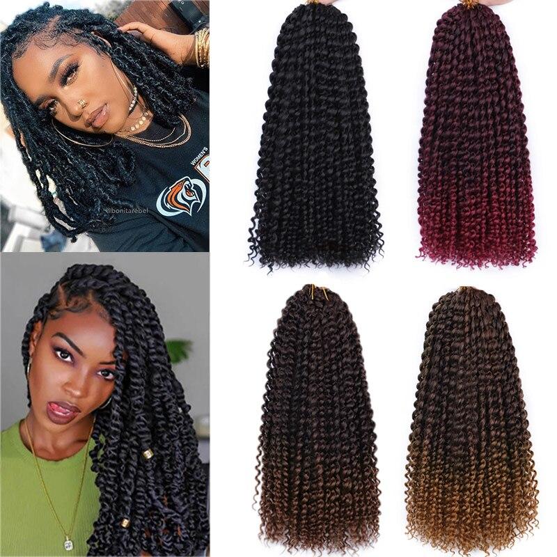 Paixão torção de cabelo sintético encaracolado, 18 Polegada primavera torção crochê trança cabelo 22 fios/pacote extensão de cabelo para mulheres negras