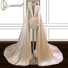 Dubai Long Sleeve Short Evening Dresses High Neck Pearls Arabic Middle East Evening Gowns Wedding Party Dresses