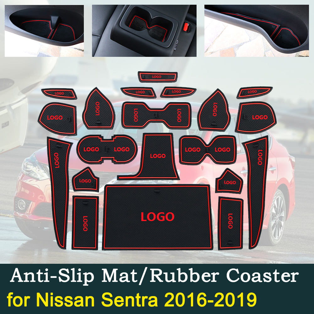 Anti slip Car Door Rubber Cup Cushion Slot Mat for Nissan Sentra B17 2016~2019 for Nissan Pulsar Sylphy Car Interior Accessories|Car Stickers| |  - title=