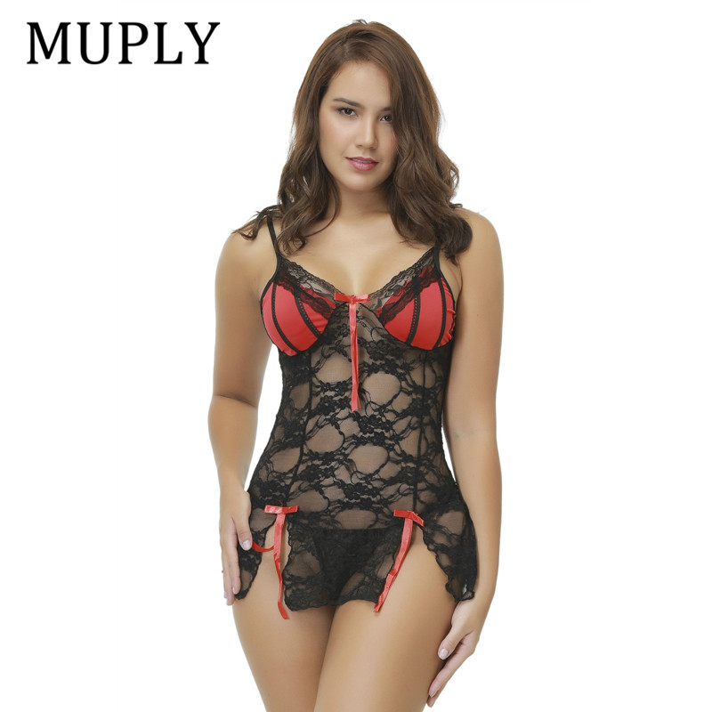 Women Sexy Lingerie Lace Babydoll Chemise Porno Sex Underwear Dress Muply Transparent Haltter Erotic Lingerie Sex Costume Exotic